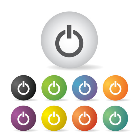 power switch off  button icon set   Vector
