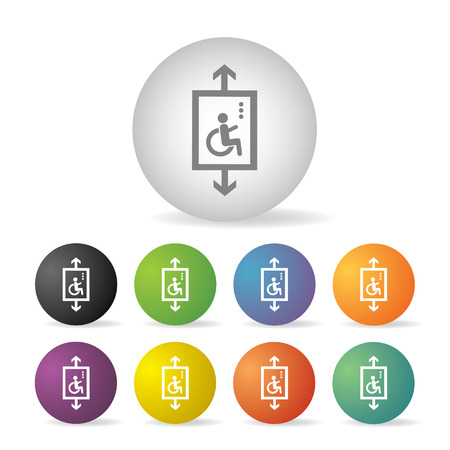 inability: lift for disabled  button icon set