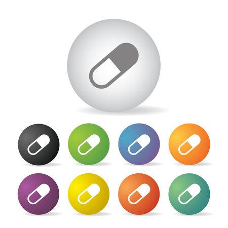 capsule medicine button icon set   Vector