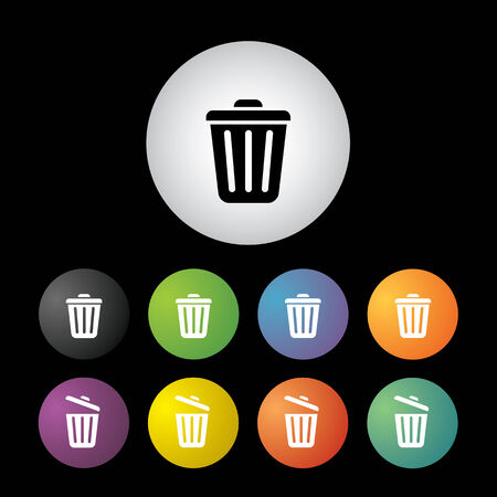 vector bin button icon set   Vector