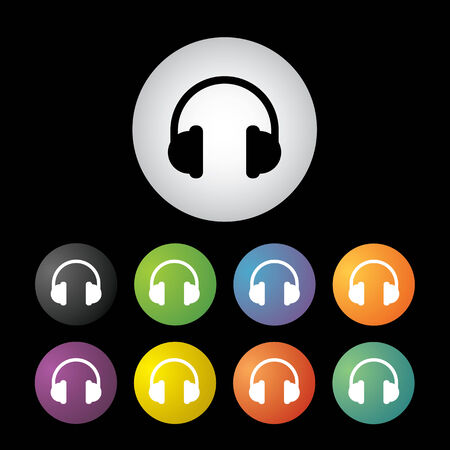 vector headphones  button icon set   Illustration