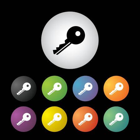 key symbol  button icon set Vector