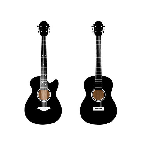 strum: acoustic guitar and electric guitar on white background