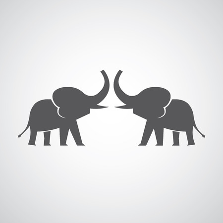 Two elephants silhouettes on gray background Vector