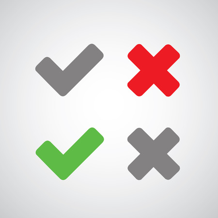 check icon: Approved and rejected symbol on gray background