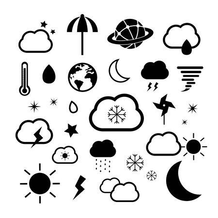 weather symbol set on white background Vector
