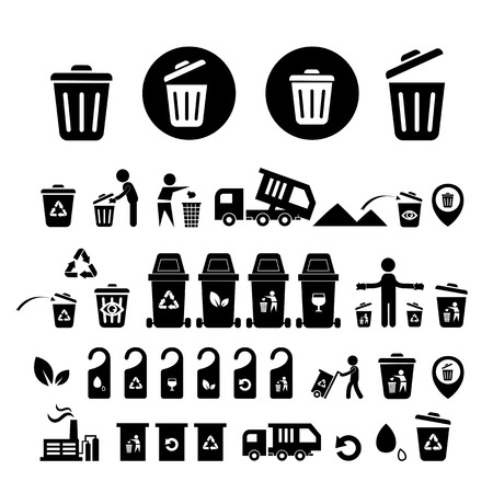 cleaning earth: recycling bin icons set  on white  background