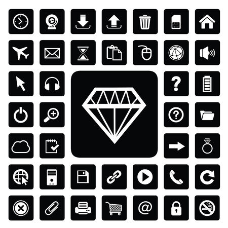 Jewelry and technology icon set Vector