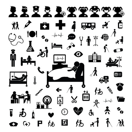 Doctor icon and hospital on white background