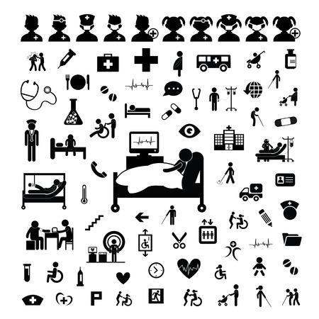 hospital caricatura: Icono del doctor y el hospital en el fondo blanco