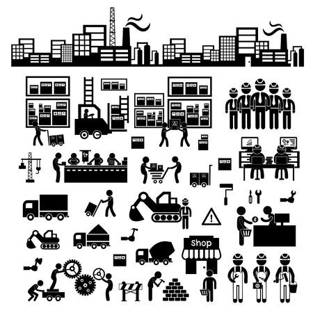 obreros: fabricante y distribuidor icono de sistema de negocio Vectores