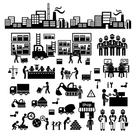 factory workers: manufacturer and distributor icon for business system