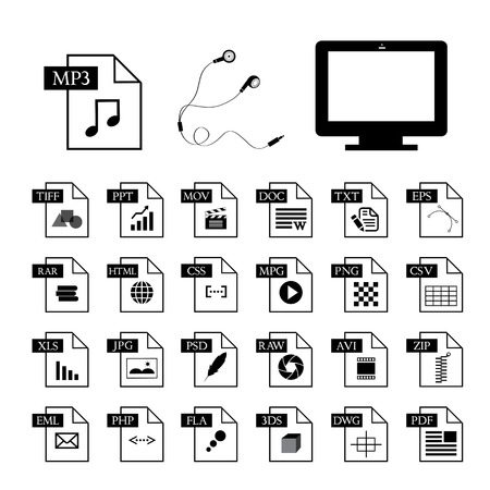 computer and file type icon set  Vector