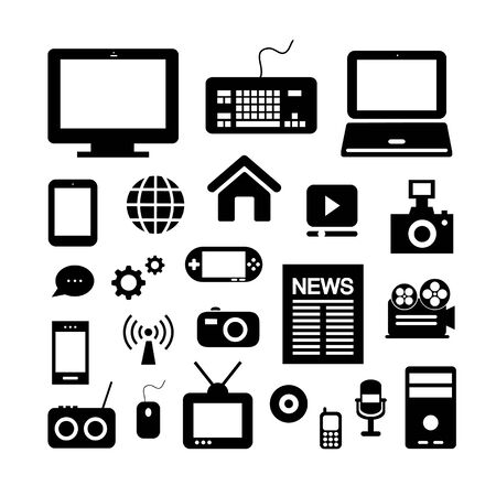 media and technology symbol on white background   Vector