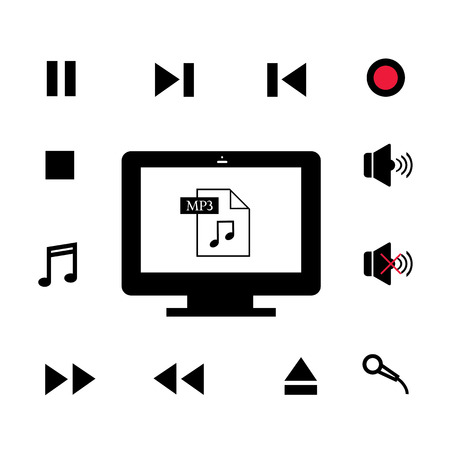 cd recorder: music and  technology symbol on white  background