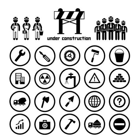 construction team vector icon set   Vector