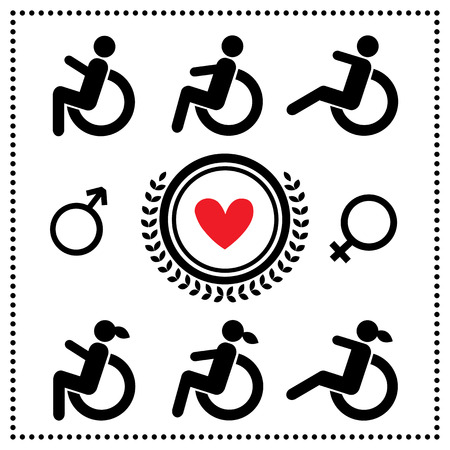 sex traffic: Disabled symbol set on white background  Illustration