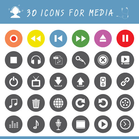 music button  icon set for media  Vector