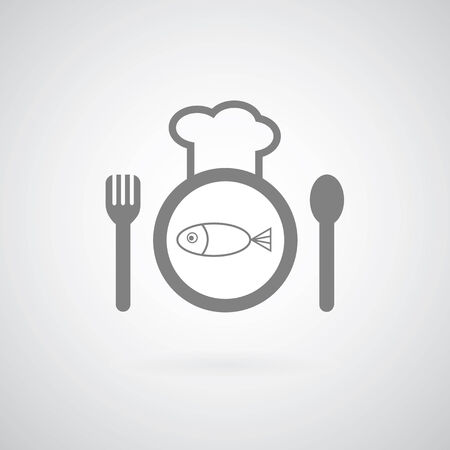 poor diet: chef symbol on gray background