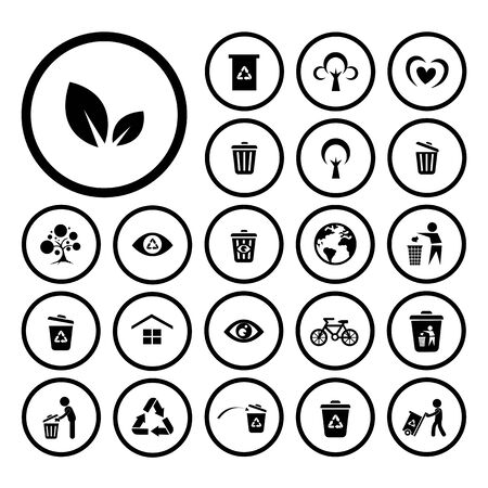 environment: recycle and environment vector icon set