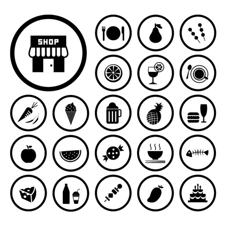 food and drink vector icon set Vector