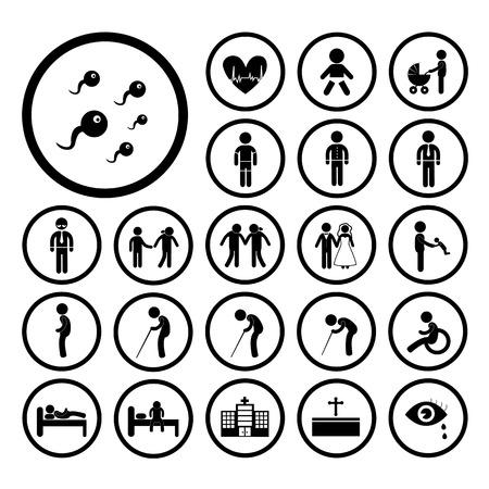 vector conjunto de iconos básicos para la vida humana