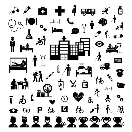health facilities: Doctor icon and hospital on white background