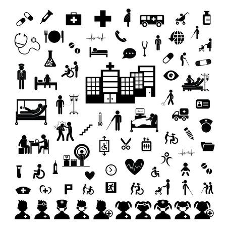 enfermera caricatura: Icono del doctor y el hospital en el fondo blanco