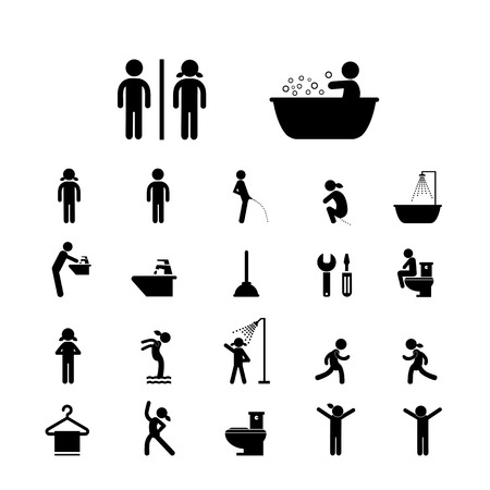 toilet sign: toilet and hygiene icons set