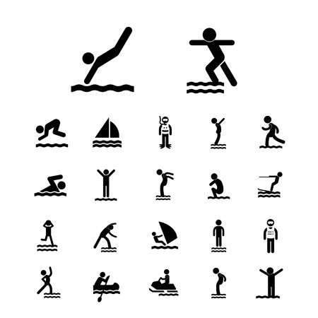 swimming silhouette: water sport vector icon set Illustration