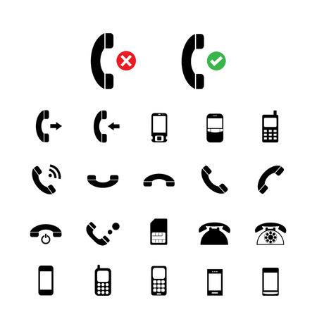no cell phone: vector basic  phone icon set