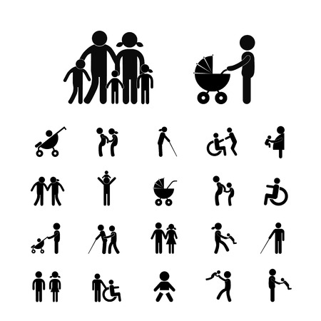 happy family vector icon set Ilustrace