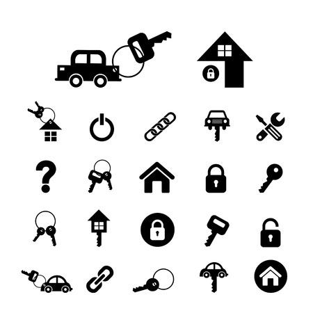 llaves: tecla de inicio y la llave del coche s�mbolo vector Vectores