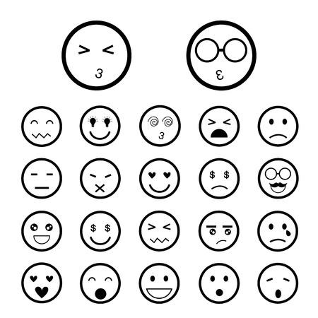 faces emoticon icons cartoon set Vector