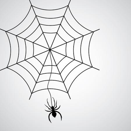 spidery: black spider symbol on gray background Illustration
