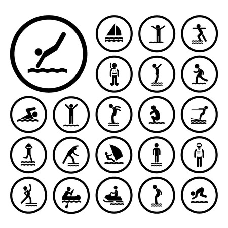 water sport vector icon set Stock Illustratie