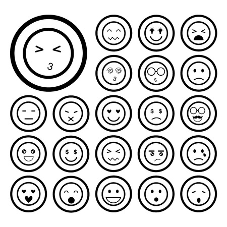 faces emoticon icons cartoon set