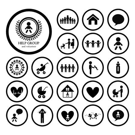 standing figure: children action welfare stick figure icon