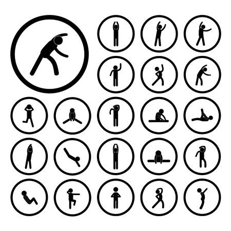 Körper-Übung Strichmännchen-Symbol Standard-Bild - 32424146