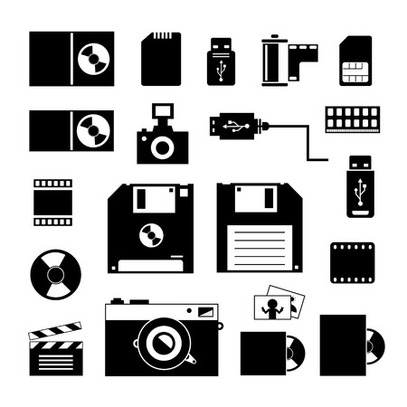 comp: vector computer and storage icons set
