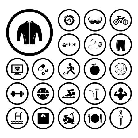 biking glove: sports and healthy vector icons set Illustration