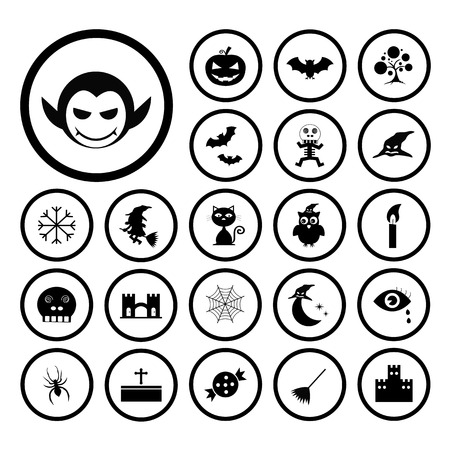 vector halloween icon set on white background Vector