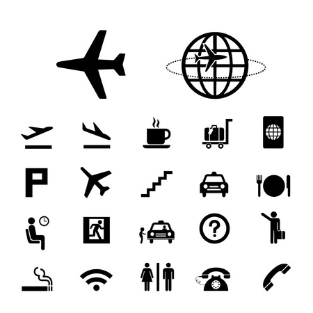 airplane: vector basic icon set for airport Illustration