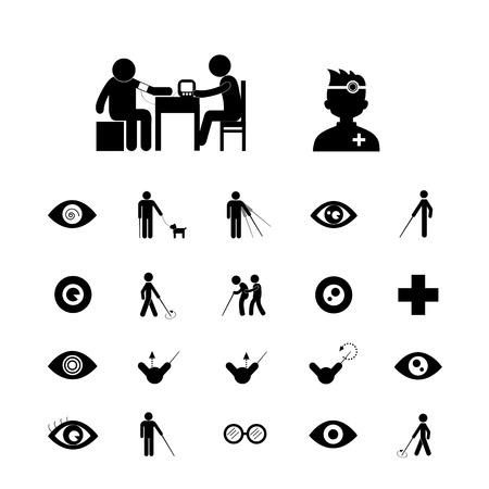 blind dog: blind man and hospital icon set