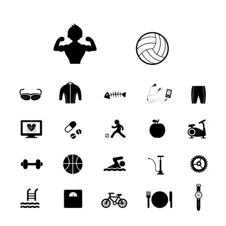 lifter: sports and healthy vector icons set Illustration