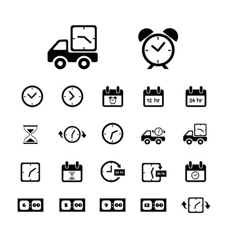 leisure time: delivery and time vector icons set Illustration