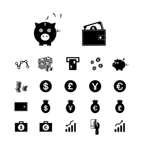 money pig: money and financial vector icon set