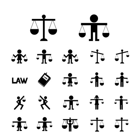 balance scale: scales justice icon vector set