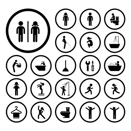 excrete: toilet and hygiene icons set