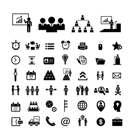 present presentation: Business teamwork icon set on white background